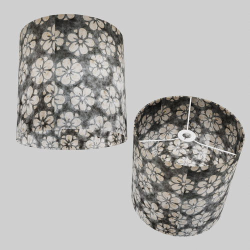 Drum Lamp Shade - P77 - Batik Star Flower Grey, 30cm(d) x 30cm(h)