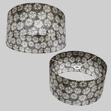 Drum Lamp Shade - P77 - Batik Star Flower Grey, 40cm(d) x 20cm(h)