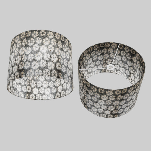 Drum Lamp Shade - P77 - Batik Star Flower Grey, 40cm(d) x 30cm(h)