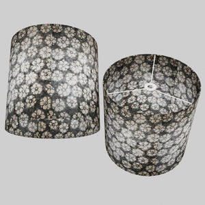 Drum Lamp Shade - P77 - Batik Star Flower Grey, 40cm(d) x 40cm(h)