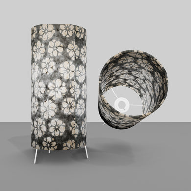 Free Standing Table Lamp Small - P77 ~ Batik Star Flower Grey