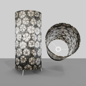 Free Standing Table Lamp Large - P77 ~ Batik Star Flower Grey