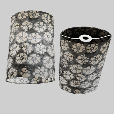 Oval Lamp Shade - P77 - Batik Star Flower Grey, 20cm(w) x 30cm(h) x 13cm(d)