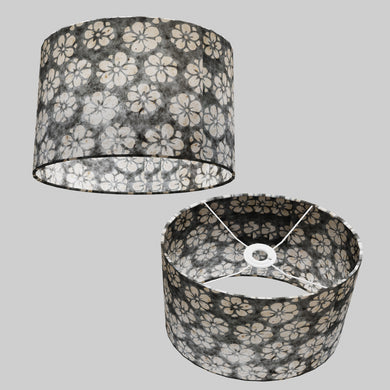 Oval Lamp Shade - P77 - Batik Star Flower Grey, 30cm(w) x 20cm(h) x 22cm(d)