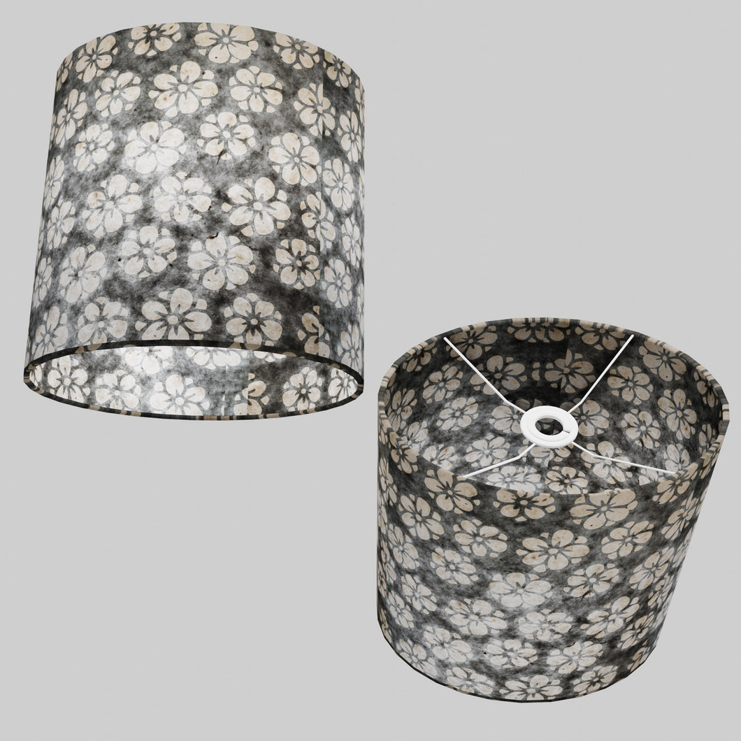 Oval Lamp Shade - P77 - Batik Star Flower Grey, 30cm(w) x 30cm(h) x 22cm(d)