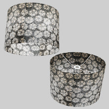 Oval Lamp Shade - P77 - Batik Star Flower Grey, 40cm(w) x 30cm(h) x 30cm(d)