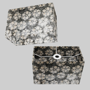 Rectangle Lamp Shade - P77 - Batik Star Flower Grey, 30cm(w) x 20cm(h) x 15cm(d)