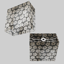 Rectangle Lamp Shade - P77 - Batik Star Flower Grey, 30cm(w) x 30cm(h) x 15cm(d)