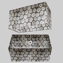 Rectangle Lamp Shade - P77 - Batik Star Flower Grey, 50cm(w) x 25cm(h) x 25cm(d)