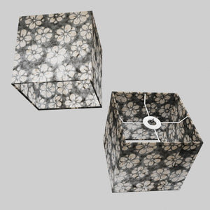 Square Lamp Shade - P77 - Batik Star Flower Grey, 20cm(w) x 20cm(h) x 20cm(d)