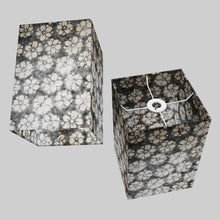 Square Lamp Shade - P77 - Batik Star Flower Grey, 20cm(w) x 30cm(h) x 20cm(d)