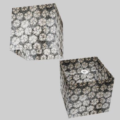 Square Lamp Shade - P77 - Batik Star Flower Grey, 30cm(w) x 30cm(h) x 30cm(d)