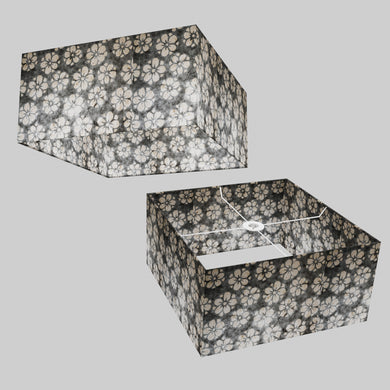 Square Lamp Shade - P77 - Batik Star Flower Grey, 40cm(w) x 20cm(h) x 40cm(d)