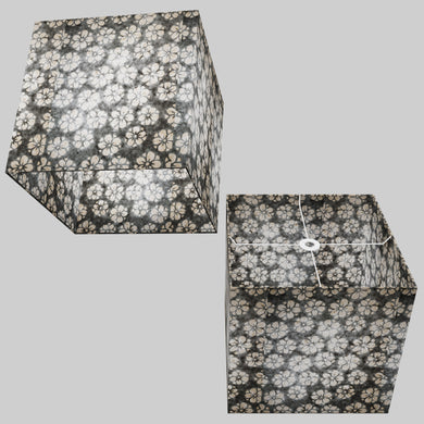 Square Lamp Shade - P77 - Batik Star Flower Grey, 40cm(w) x 40cm(h) x 40cm(d)