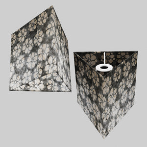 Triangle Lamp Shade - P77 - Batik Star Flower Grey, 20cm(w) x 20cm(h)