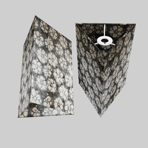 Triangle Lamp Shade - P77 - Batik Star Flower Grey, 20cm(w) x 30cm(h)