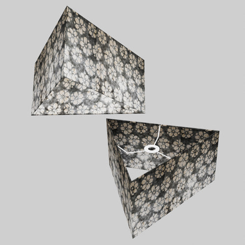 Triangle Lamp Shade - P77 - Batik Star Flower Grey, 40cm(w) x 20cm(h)