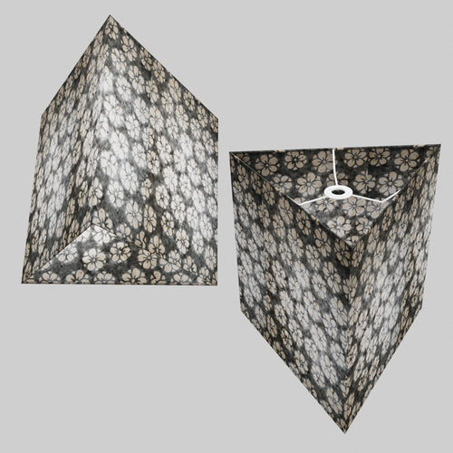 Triangle Lamp Shade - P77 - Batik Star Flower Grey, 40cm(w) x 40cm(h)