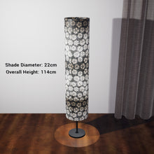 Drum Floor Lamp - P77 - Batik Star Flower Grey, 22cm(d) x 114cm(h) - Imbue Lighting