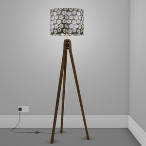 Sapele Tripod Floor Lamp - P77 - Batik Star Flower Grey
