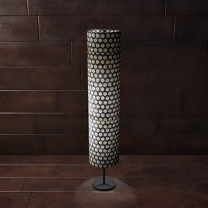 Drum Floor Lamp - P78 - Batik Dots on Grey, 22cm(d) x 114cm(h) - Imbue Lighting