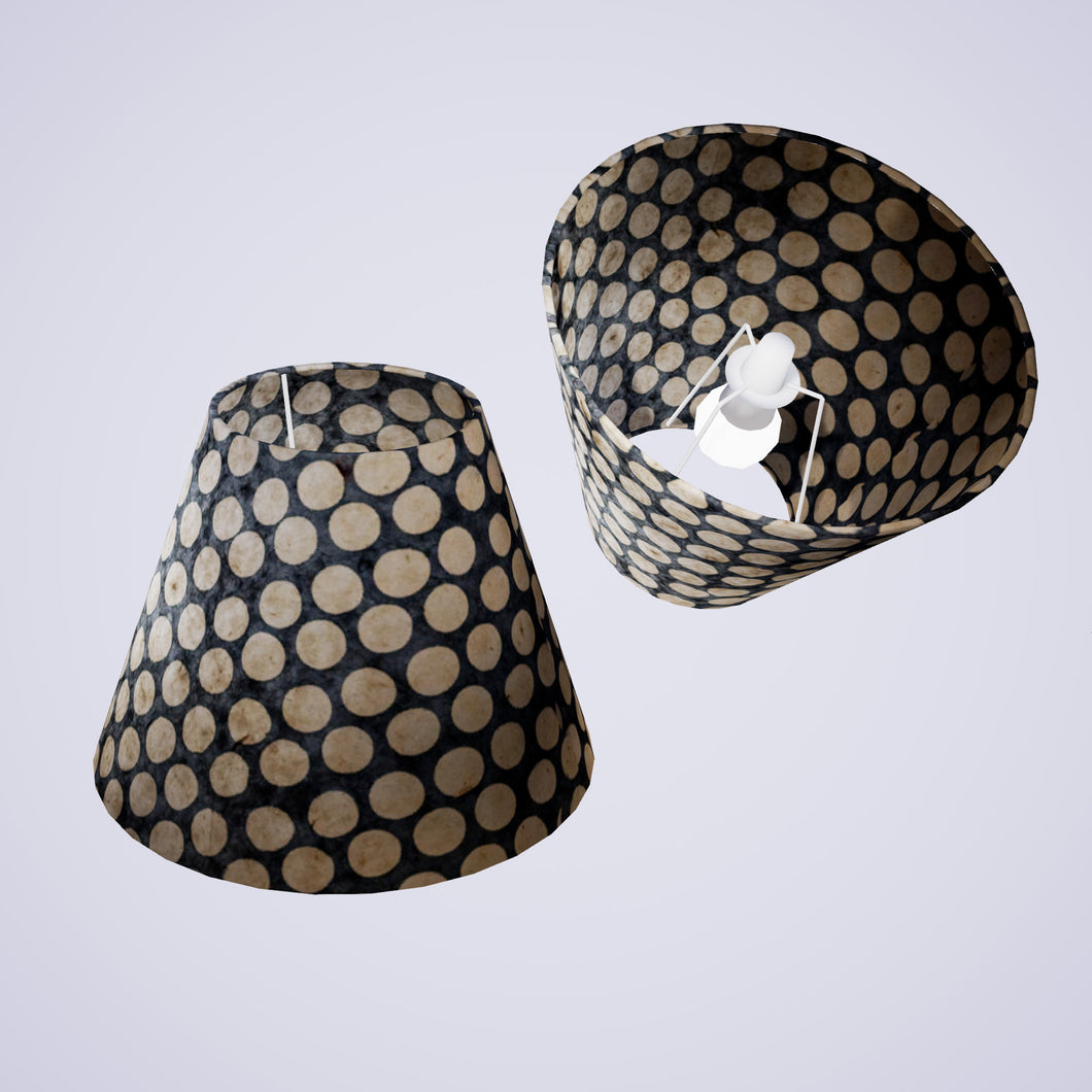 Conical Lamp Shade P78 - Batik Dots on Grey, 15cm(top) x 30cm(bottom) x 22cm(height)