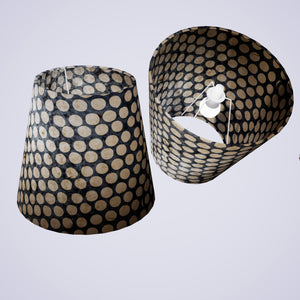 Conical Lamp Shade P78 - Batik Dots on Grey, 23cm(top) x 35cm(bottom) x 31cm(height)