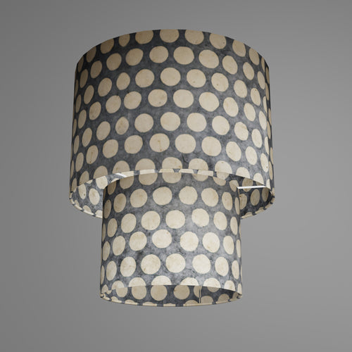 2 Tier Lamp Shade - P78 - Batik Dots on Grey, 30cm x 20cm & 20cm x 15cm