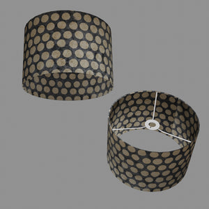 Drum Lamp Shade - P78 - Batik Dots on Grey, 30cm(d) x 20cm(h)