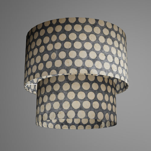 2 Tier Lamp Shade - P78 - Batik Dots on Grey, 40cm x 20cm & 30cm x 15cm