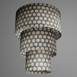 3 Tier Lamp Shade - P78 - Batik Dots on Grey, 40cm x 20cm, 30cm x 17.5cm & 20cm x 15cm