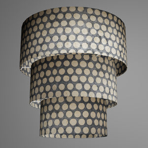 3 Tier Lamp Shade - P78 - Batik Dots on Grey, 50cm x 20cm, 40cm x 17.5cm & 30cm x 15cm