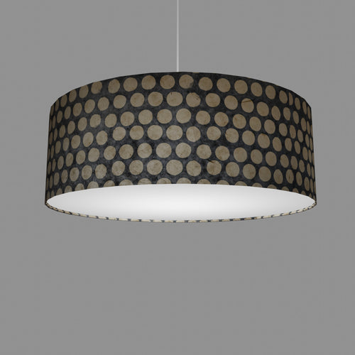 Drum Lamp Shade - P78 - Batik Dots on Grey, 60cm(d) x 20cm(h)