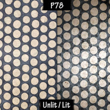 Drum Lamp Shade - P78 - Batik Dots on Grey, 20cm(d) x 20cm(h) - Imbue Lighting