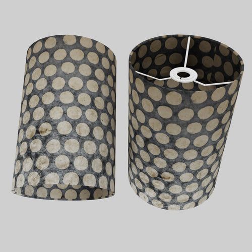 Drum Lamp Shade - P78 - Batik Dots on Grey, 20cm(d) x 30cm(h)