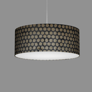 Drum Lamp Shade - P78 - Batik Dots on Grey, 50cm(d) x 20cm(h)