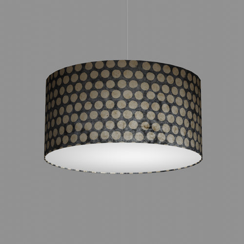 Drum Lamp Shade - P78 - Batik Dots on Grey, 50cm(d) x 25cm(h)