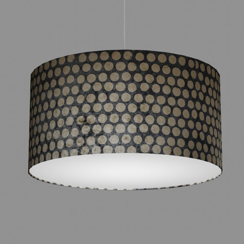 Drum Lamp Shade - P78 - Batik Dots on Grey, 60cm(d) x 30cm(h)