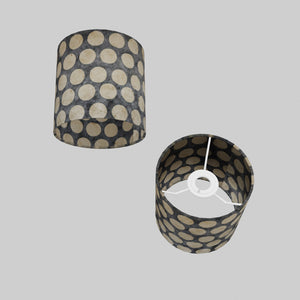 Drum Lamp Shade - P78 - Batik Dots on Grey, 15cm(d) x 15cm(h)