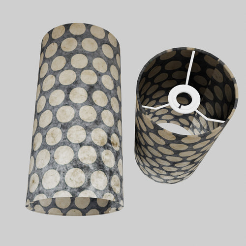 Drum Lamp Shade - P78 - Batik Dots on Grey, 15cm(d) x 30cm(h)