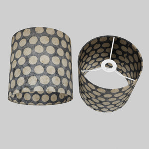 Drum Lamp Shade - P78 - Batik Dots on Grey, 20cm(d) x 20cm(h)