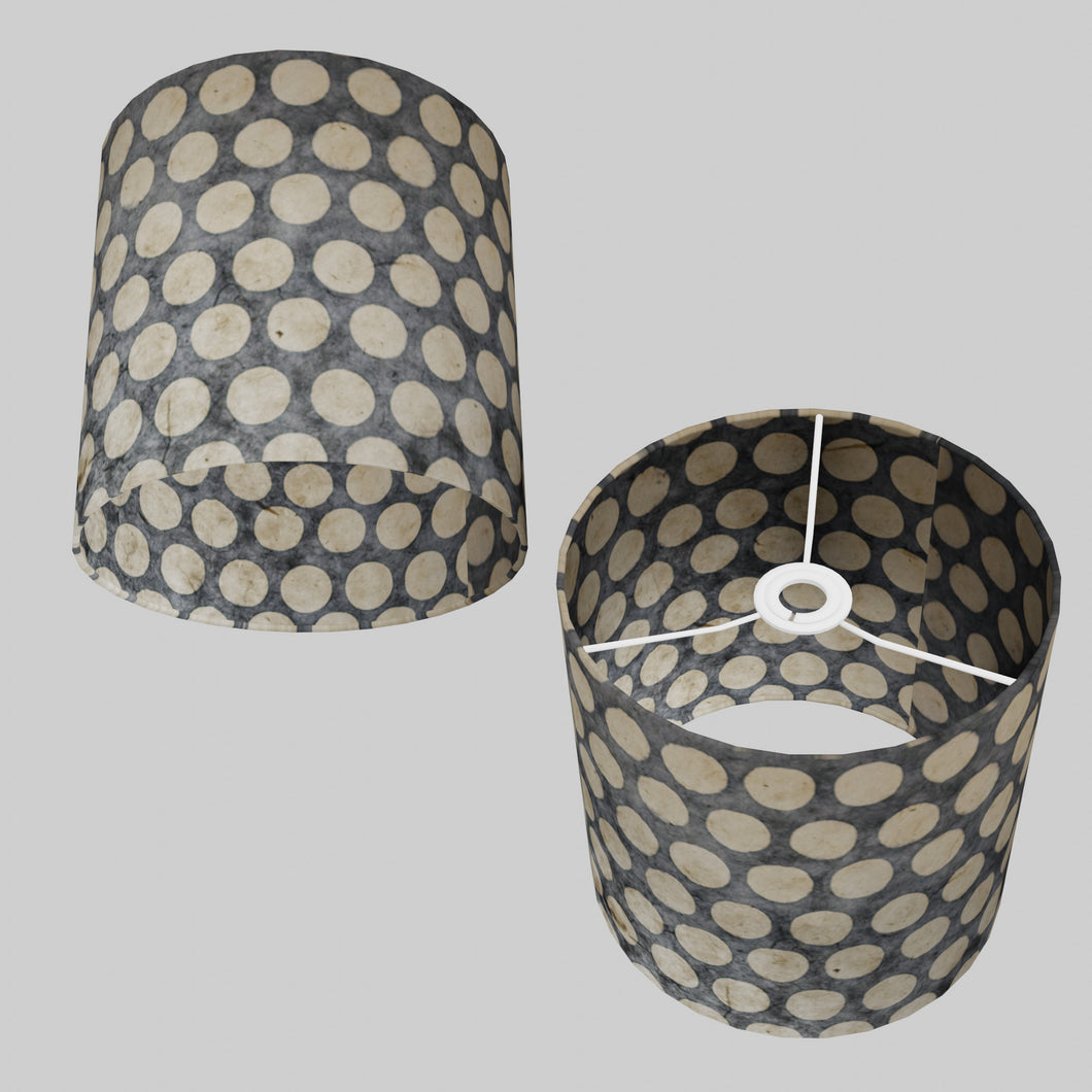 Drum Lamp Shade - P78 - Batik Dots on Grey, 25cm x 25cm