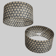 Drum Lamp Shade - P78 - Batik Dots on Grey, 40cm(d) x 20cm(h)