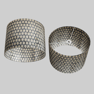Drum Lamp Shade - P78 - Batik Dots on Grey, 40cm(d) x 30cm(h)