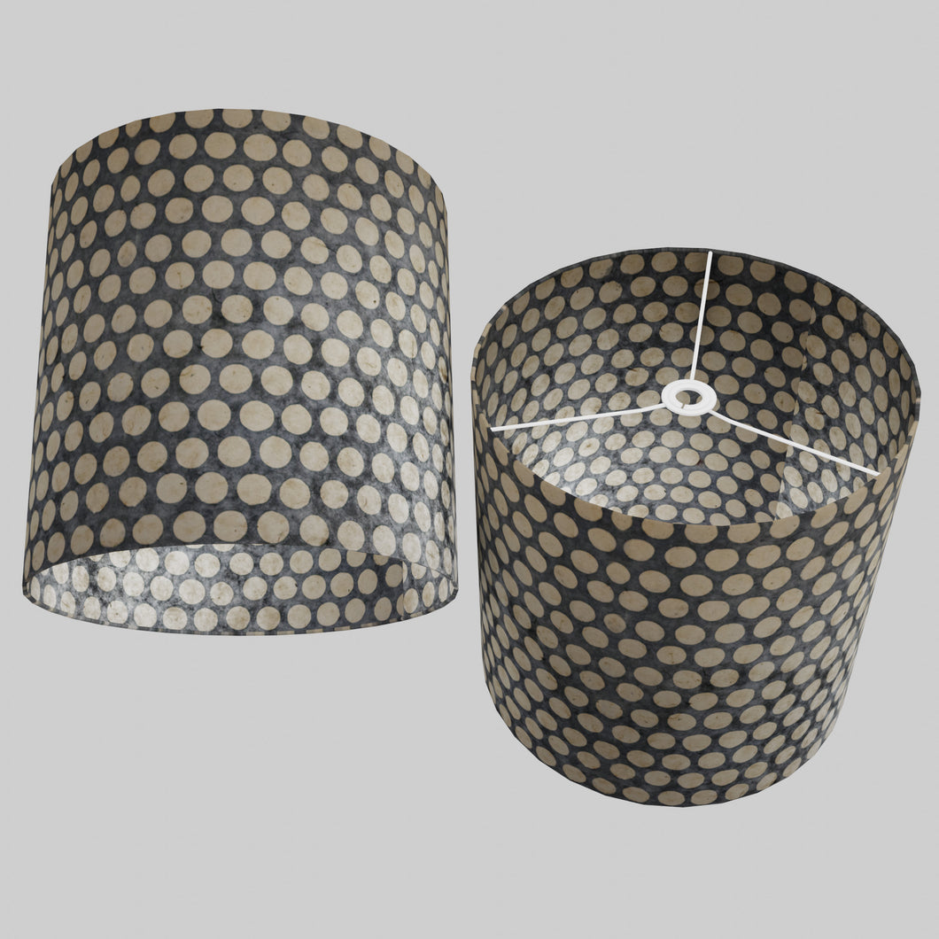Drum Lamp Shade - P78 - Batik Dots on Grey, 40cm(d) x 40cm(h)