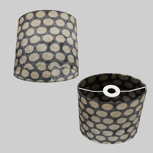 Oval Lamp Shade - P78 - Batik Dots on Grey, 20cm(w) x 20cm(h) x 13cm(d)