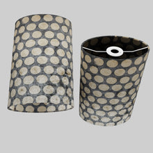 Oval Lamp Shade - P78 - Batik Dots on Grey, 20cm(w) x 30cm(h) x 13cm(d)