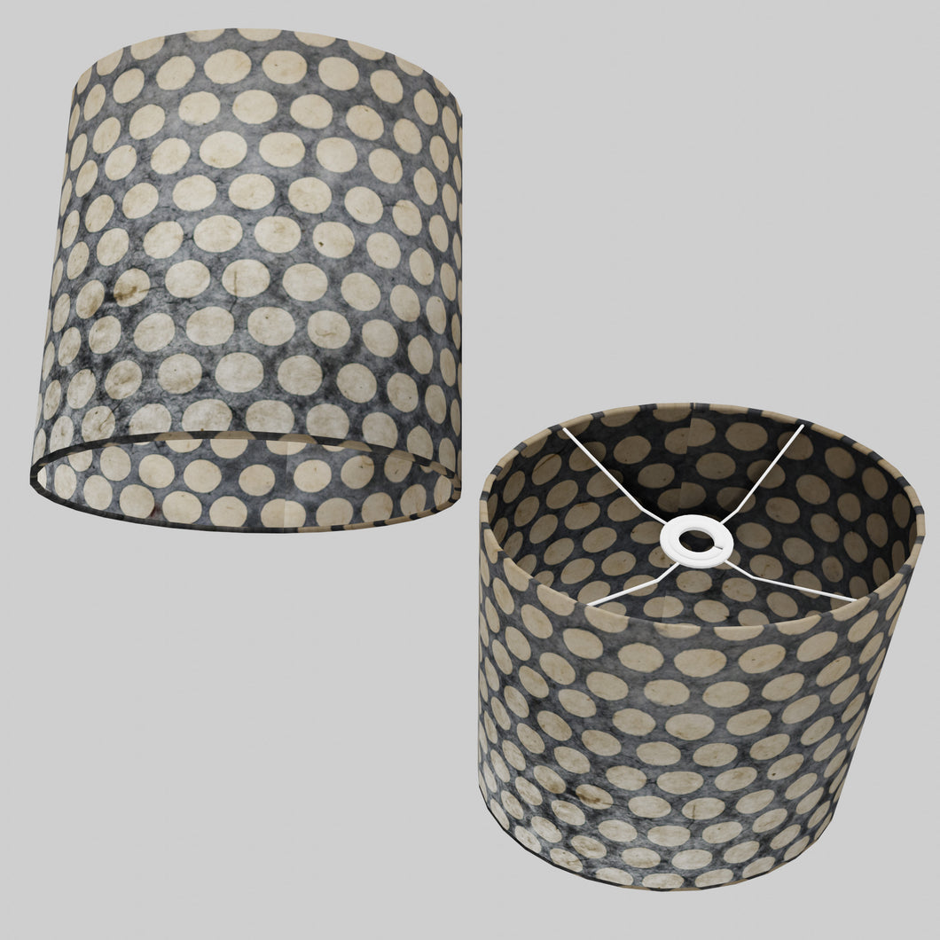 Oval Lamp Shade - P78 - Batik Dots on Grey, 30cm(w) x 30cm(h) x 22cm(d)