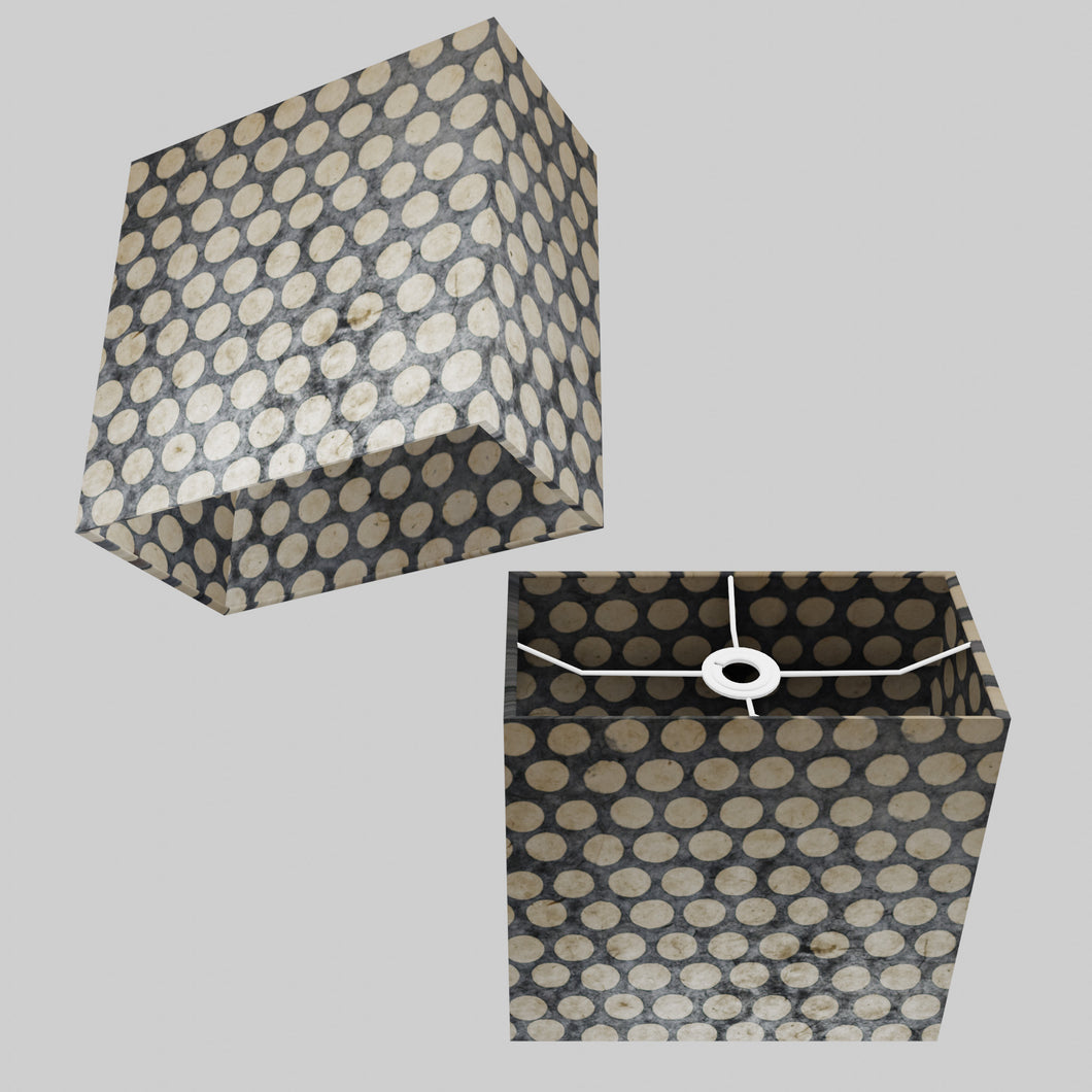 Rectangle Lamp Shade - P78 - Batik Dots on Grey, 30cm(w) x 30cm(h) x 15cm(d)
