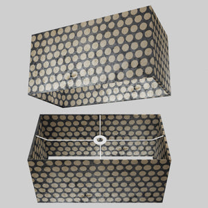 Rectangle Lamp Shade - P78 - Batik Dots on Grey, 50cm(w) x 25cm(h) x 25cm(d)